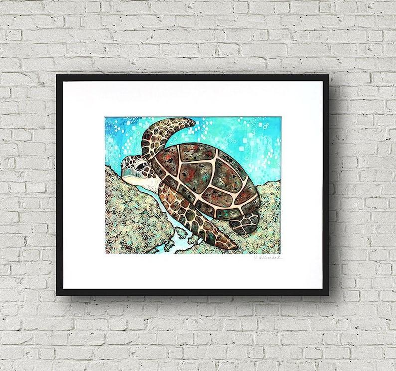 SEA TURTLE Swimming Along Art Print image 0