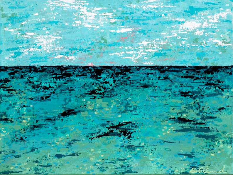 Abstract Ocean Art Turquoise and Blues Palette Knife image 0
