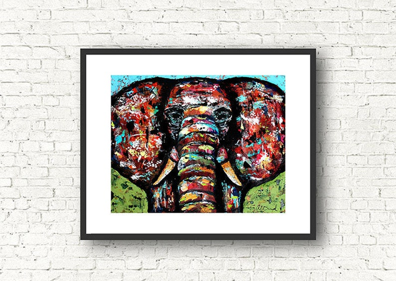 GENTLE GIANT Elephant Print  8 x 10 or 11 x 14 Painting by image 0