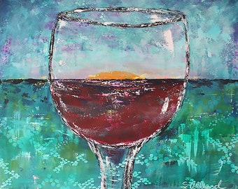 "FREE SHIPPING Large Abstract Art, Wine, Sunset, Turquoise Blue Red, Coastal Summer, Acrylic Painting, 24"" x 30"" Gallery Canvas"