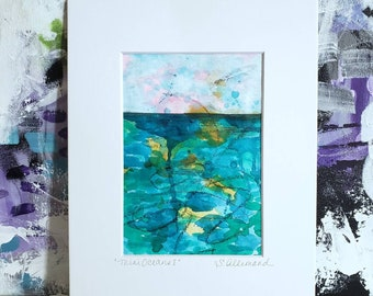 """Small Abstract Landscape Painting, """"Mini Oceans I"""" Original Painting on Paper"""", 5 x 7 , Matted to 8 x 10,  Contemporary Art"""