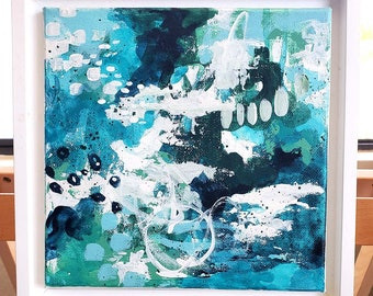 """Original Painting, WATER FEATURE II, Small Abstract Art, 8"""" x 8"""" on canvas, Landscapes, Seascapes, Ocean Life, Coastal Living"""