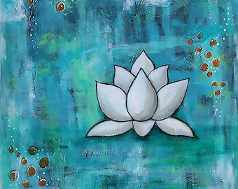 "LOTUS IN BLUE, Large Expressionist Art, White Lotus Flower, 24"" x 24"" Acrylic Mixed Media Painting, Peace, Zen Yoga"