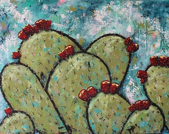 "ALONG THE COAST Large Expressionist Abstract Art, Blooming Cactus, 30"" x 40"" Acrylic Mixed Media Painting"