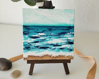 MINI OCEANS #10, Original Oceanscape Painting on Canvas, 4 x 4,  Wood Easel, Contemporary Art, Abstract Landscape, Ocean