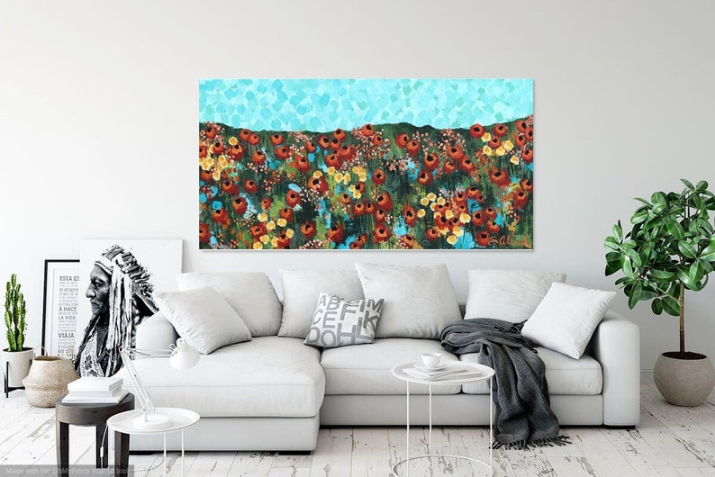 ABSTRACT PAINTING LANDSCAPE California Beauty Poppies Field image 0