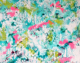 "FREE SHIPPING Large Abstract Art, Turquoise Green Pink White, In The Canopy, Acrylic Painting, 24"" x 24"" Gallery Canvas, Interior Design"