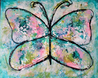 "BE FREE Large Expressionist Abstract Art. 20"" x 24"" Acrylic Painting, Butterfly"