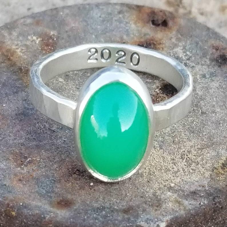 size 8.25 Marlborough Chrysoprase JHF Handmade Sterling Silver Ring