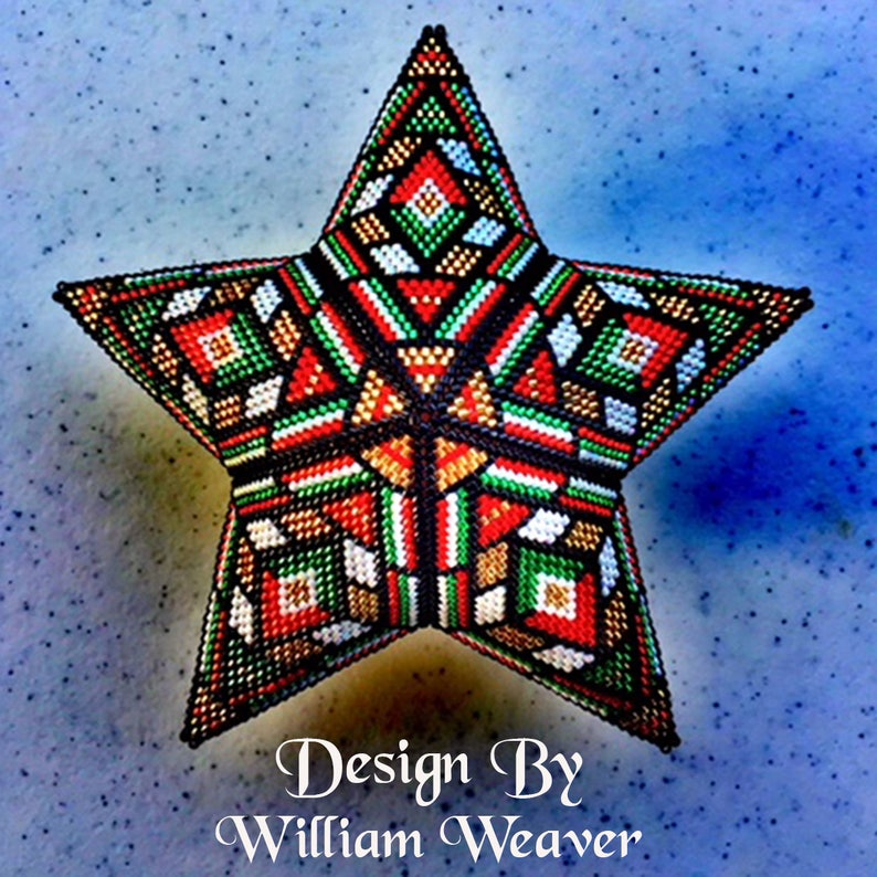 0a61fc9def2357 Stain Glass Inspired 3D Peyote Star Warped Square Peyote