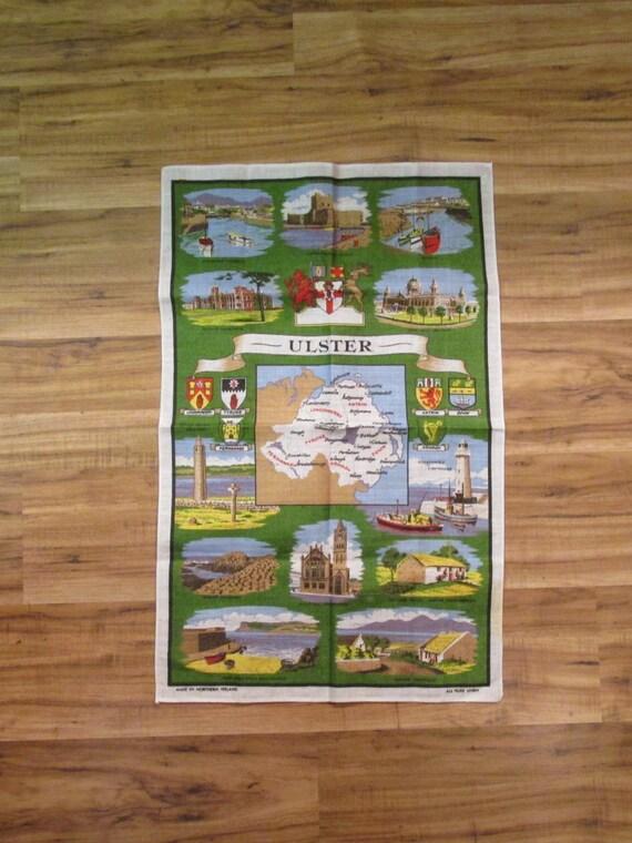 Irish Looms Northern Ireland Map Linen Union Tea Towel