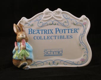 1990 Beatrix Potter Collectibles Retail Sign by Schmid featuring Peter Rabbit F.W. & Co.