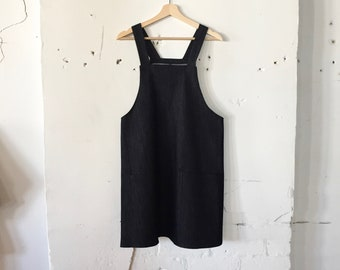 287a31e198a June Jumper Dress - dark denim   overalls dress   apron dress   denim dress