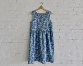 Prairie Dress - blue and white floral cotton SIZE med
