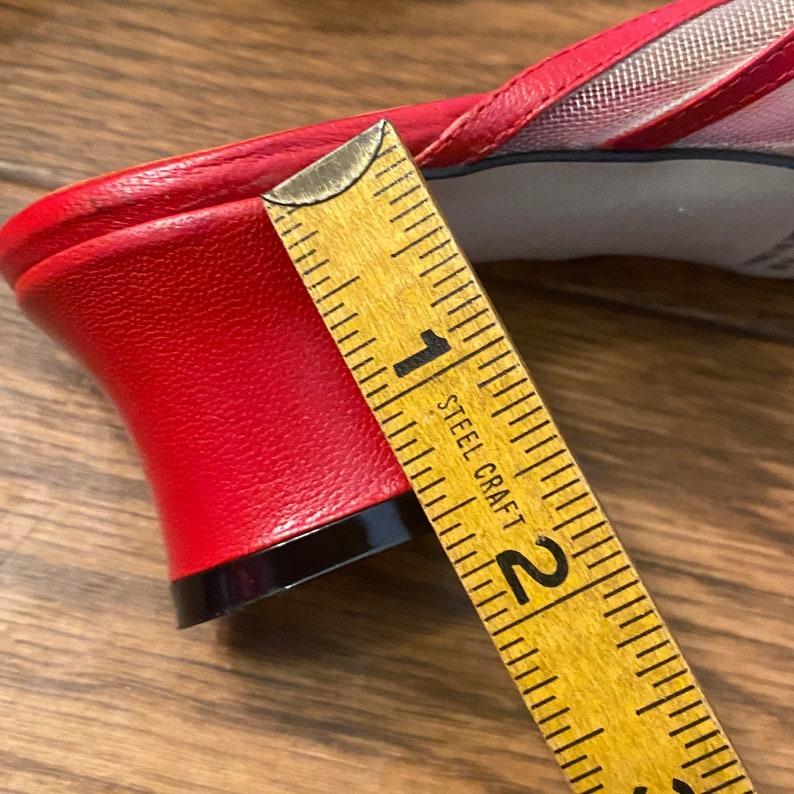 7.5 Vintage Mesh Mules 7.5 Vintage Red Mesh Block Peep Toe Heels Mules Block Heel Leather