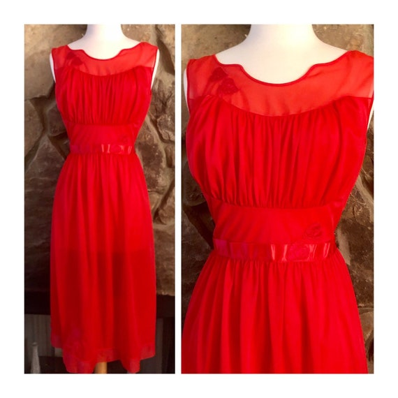 Vintage Red Nightgown, Slip Dress. Small/Med