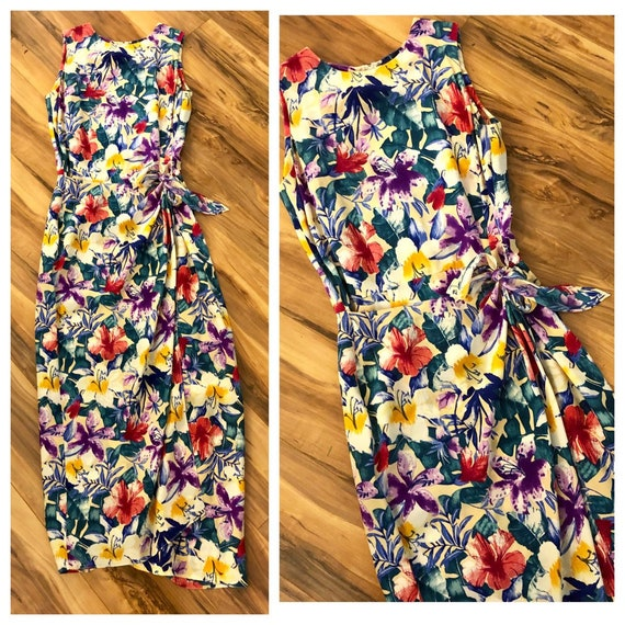 Tropical Silk Dress, Vintage Maggy London Tropical