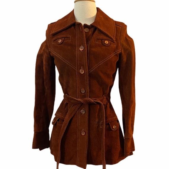 Vintage Suede Burnt Orange Hip Length Jacket, S, 1