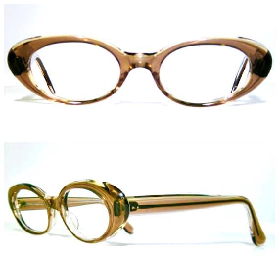 1960's Vintage Light Brown Translucent Eyeglasses