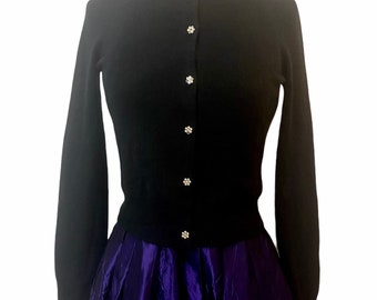 Vintage Black Cardigan with Rhinestones Buttons, Fitted Cardifan, Black, Sweater Girl, small