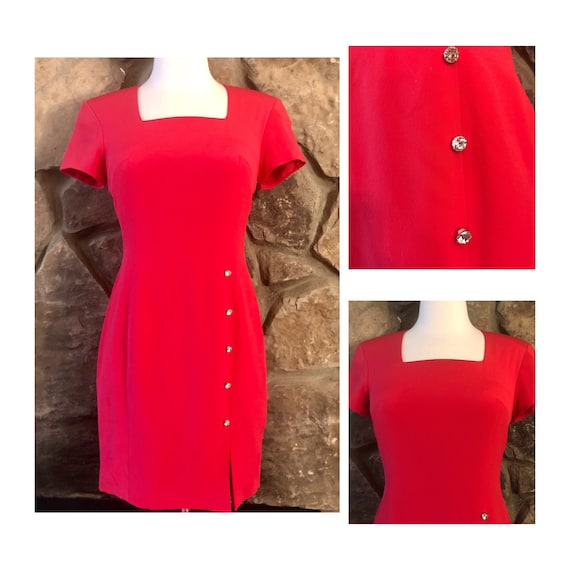 Vintage 1990's Red Sophisticated Mini Dress, Silk