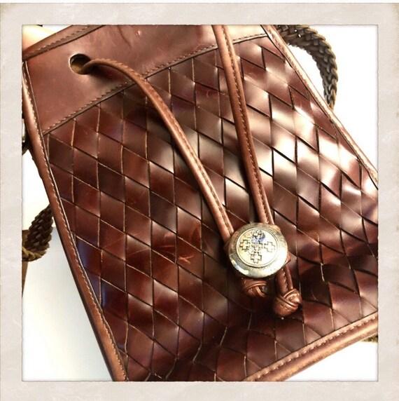 Vintage Brighton Bucket Bag, Woven Leather Purse