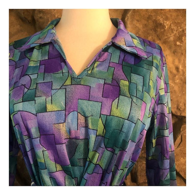 Size Small Vintage Mod Shift Dress Groovy Print Dress Purple /& Blue