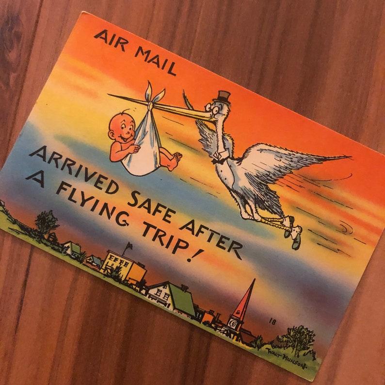 Linen Postcard 1940\u2019s Deadstock Comic Postcard VIntage 1940/'S Postcard Unused
