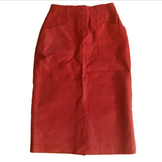 Vintage Red Leather Pencil Skirt, Ultra Sexy, Smal