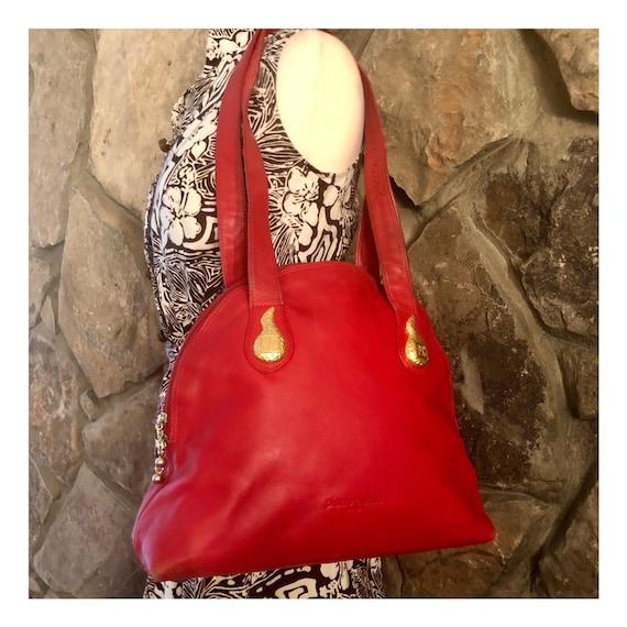 Pierre Cardin Shoulder Bag, Vintage 1980's, Red &