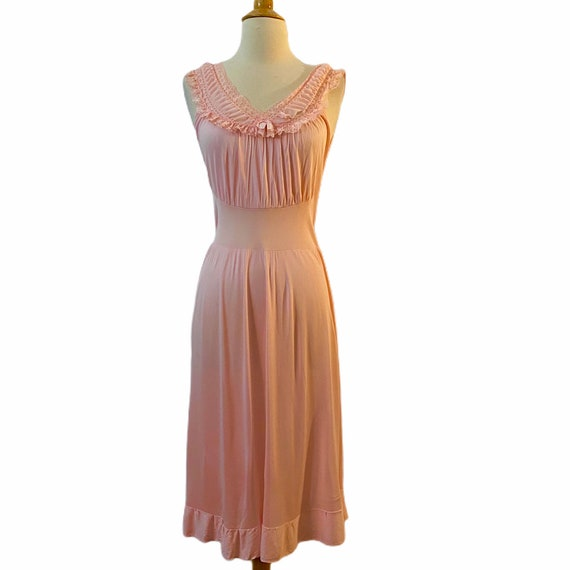 Vintage 1960's Long Pink Nighhtgown, Slip, Small