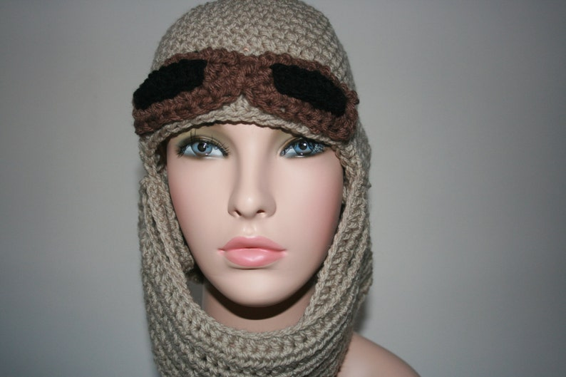 Halloween and parties Sahara hat with goggles. Size: L New Star Wars Rey /'Inspired/' Crochet Earflap Hat Already Made and ready to send