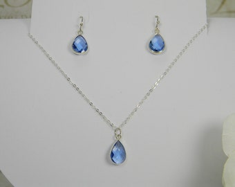 Silver initial Necklace Blue Earrings Set TS8 Set of 8 Blue Necklace Earrings Set Silver Sky Blue Topaz Jewelry Sets Blue Bridal