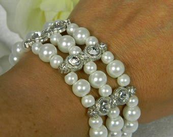 Multi Strand Pearl Bridal Cuff Bracelet with Rhinestones , Pearl Bracelet, Pearl Wedding Jewelry, Bridal Bracelet, Wedding Accessories