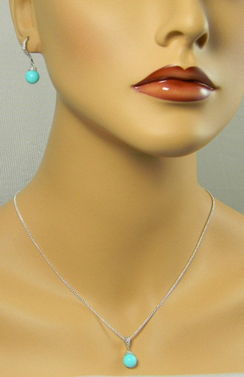 Blue Bridesmaid Pearl Necklace Gift Set Flower Girl Jewelry Pearl Bridal Earrings Necklace Set Bridesmaids Gift COLOR Options BME405
