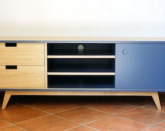 TV in oak and slate grey
