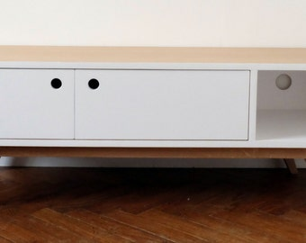 Satin white TV Scandinavian 2 hinged doors Cabinet
