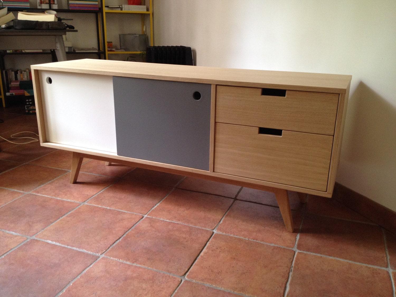 meuble tv enfilade 2 portes coulissantes 2 tiroirs etsy. Black Bedroom Furniture Sets. Home Design Ideas