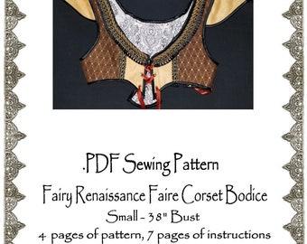 """AngelDMort 38"""" bust Fairy Renaissance Faire Corset Bodice Turkish Vest .PDF Pattern Instant Download"""