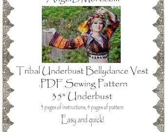 AngelDMort Tribal Belly Dance Underbust Turkish Vest .PDF Pattern Instant Download2