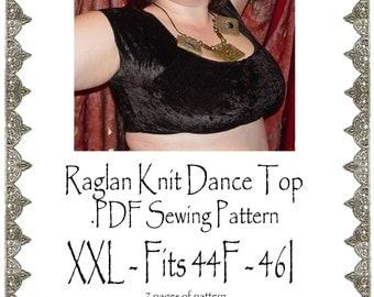 42 / 44 G-H AngelDMort Raglan Knit Dance Top .PDF Pattern Instant Download & Instructions2