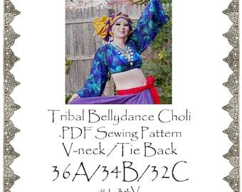 36A/34B/32C AngelDMort Tribal Belly Dance V-neck Choli .PDF Pattern Instant Download & Color Illustrated Instructions