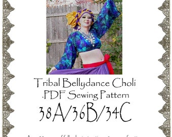 38A/36B/34C AngelDMort Tribal Belly Dance V-neck Choli .PDF Pattern Instant Download & Color Illustrated Instructions