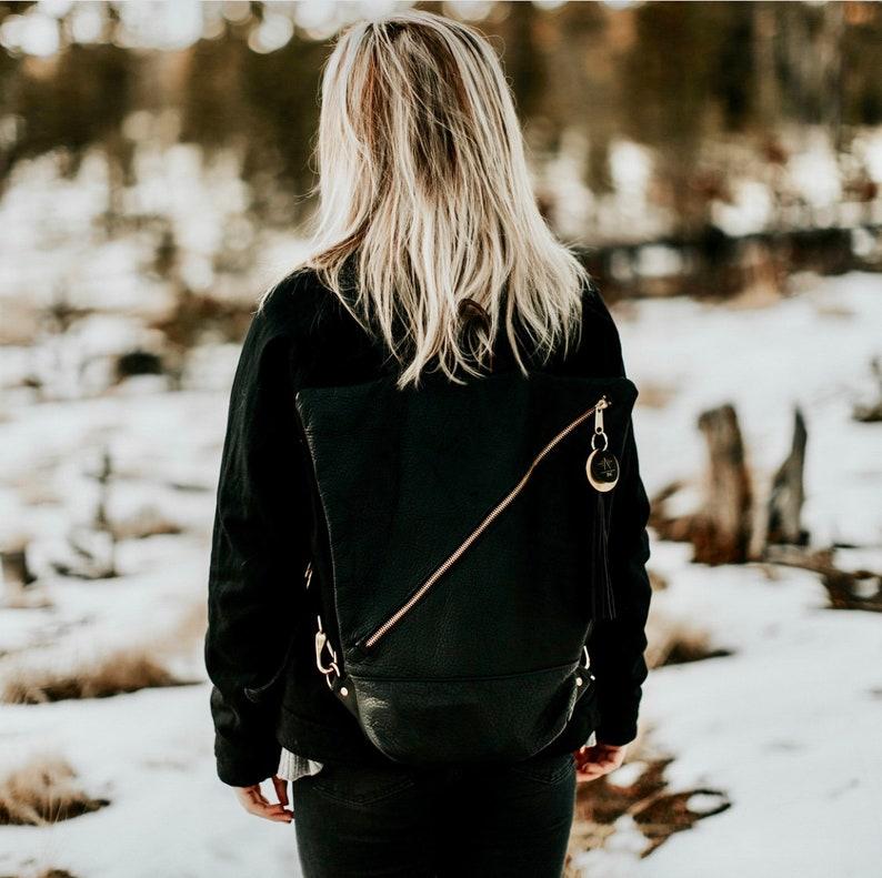 Simple Backpack Zipper Backpack Leather Backpack Geometric Backpack Street Style backpack unisex backpack