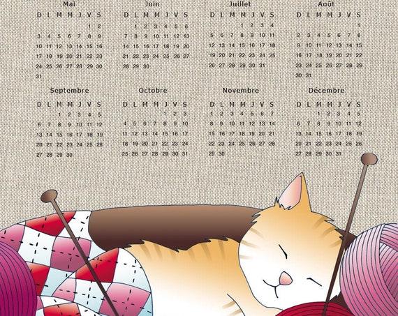 "Torchon calendar 2020 ""Cat and ball of wool"""