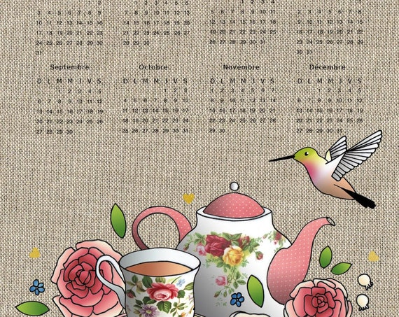 "Torchon calendar 2020 ""Old Hummingbird and Roses"""