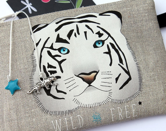 "Wallet shown natural linen ""wild and free"""