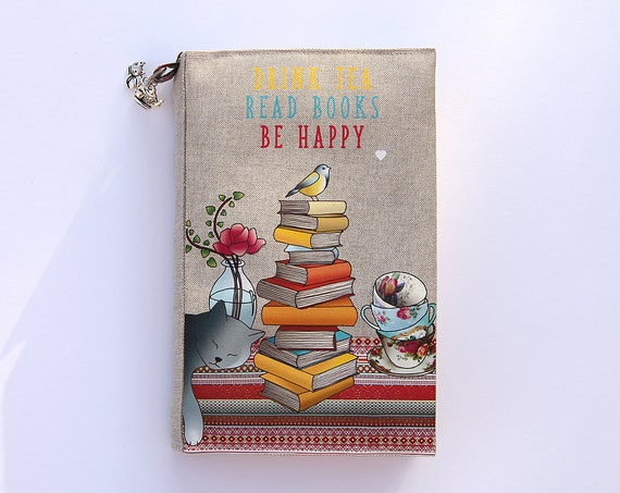 "Adjustable pocketbook illustrated linen ""drink tea read books be happy"""