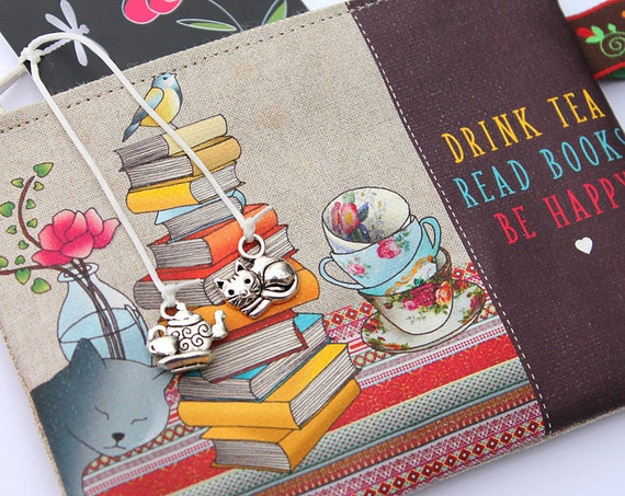 "Wallet shown natural linen ""Drink tea Read books Be happy"""
