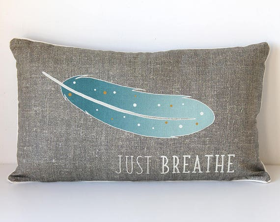 "Natural linen cushion ""Just breathe"""